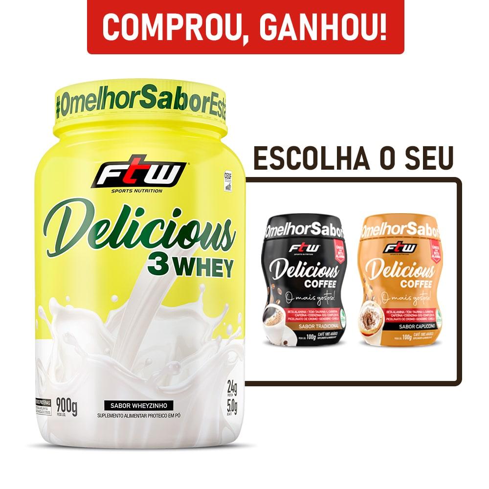 Delicious 3Whey Sabor Wheyzinho 900g + Brinde Delicious Coffee - FTW