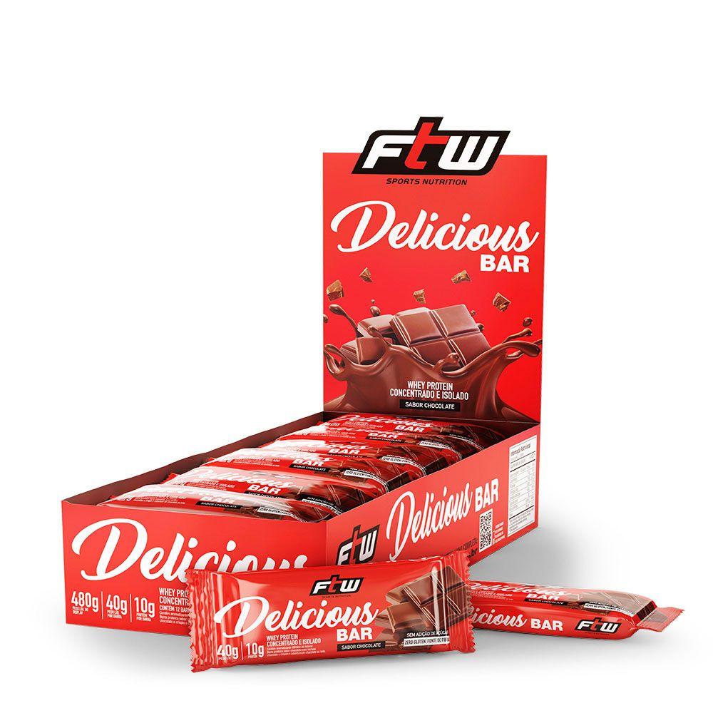 DELICIOUS BAR FTW CAIXA COM 12 BARRAS 480g - Sabor Chocolate