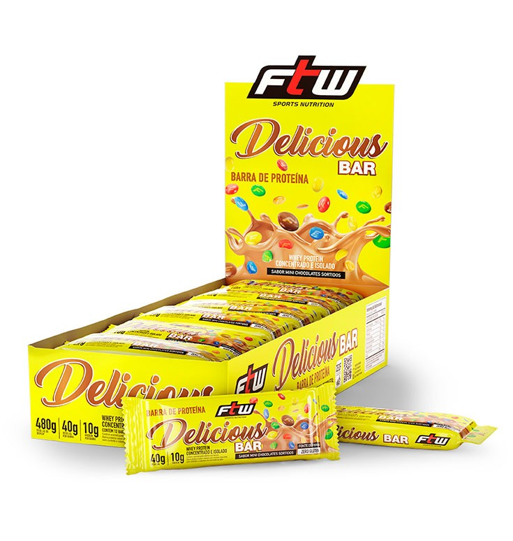 Delicious Bar Sabor Mini Chocolates Sortidos Caixa com 12 Barras 480g - FTW
