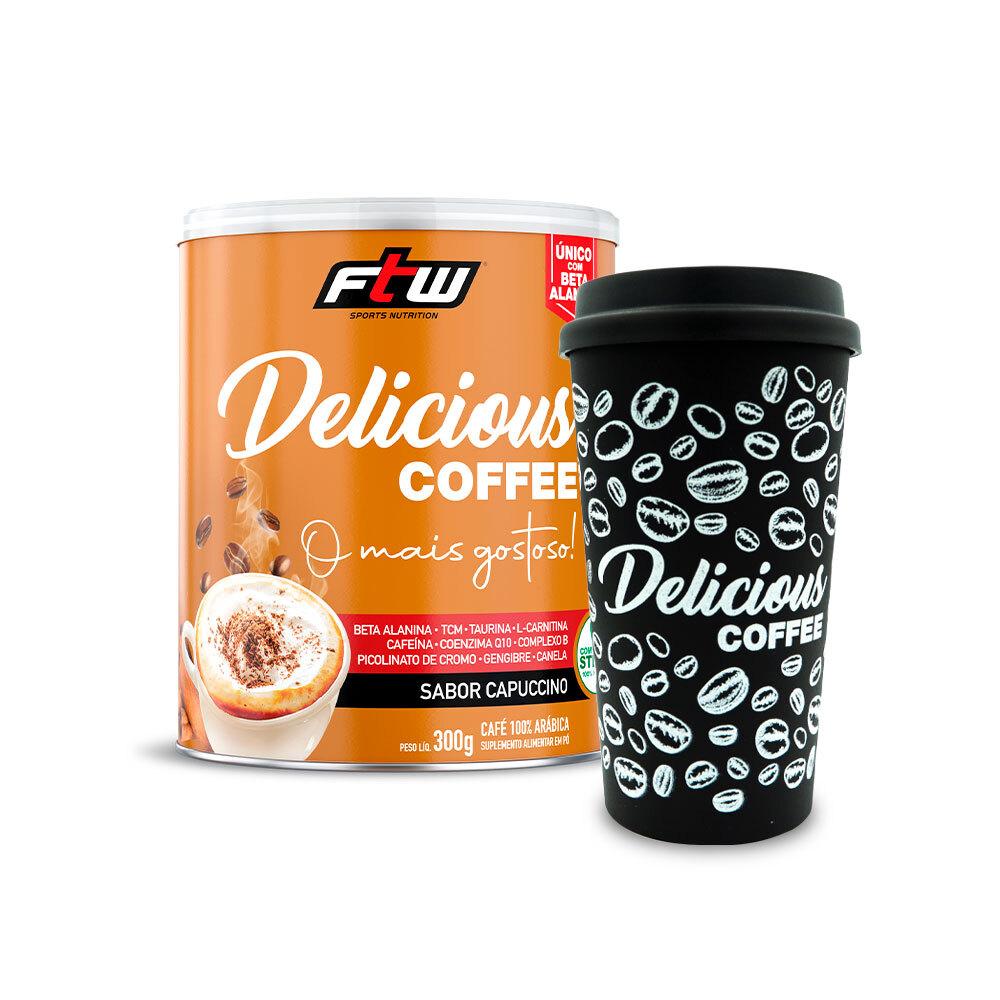 Delicious Coffee - 300g - Sabor Capuccino + Brinde Copo Delicious Coffee