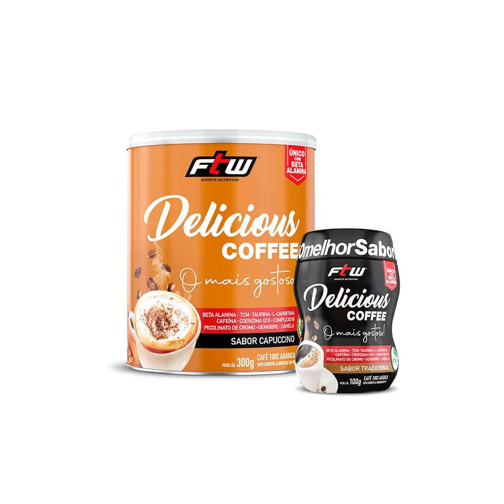 Delicious Coffee - 300g - Sabor Capuccino + Brinde Delicious Coffee sabor Tradicional 100g