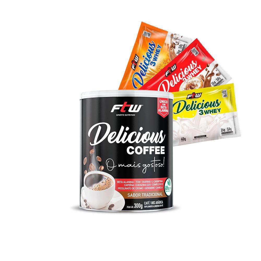 Delicious Coffee - 300g - Sabor Tradicional + Brinde 3 Sachês Delicious 3Whey