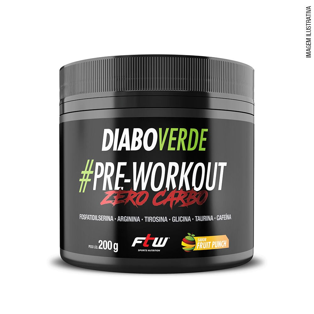 Diabo Verde #Pre-Workout Zero Carbo Sabor Fruit Punch 200g   - FTW