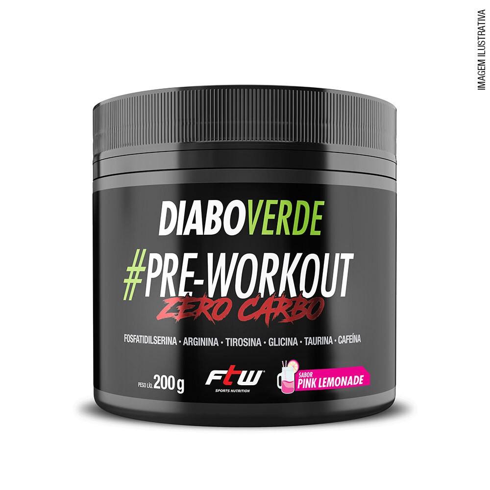 Diabo Verde #Pre-Workout Zero Carbo Sabor Pink Limonade 200g   - FTW