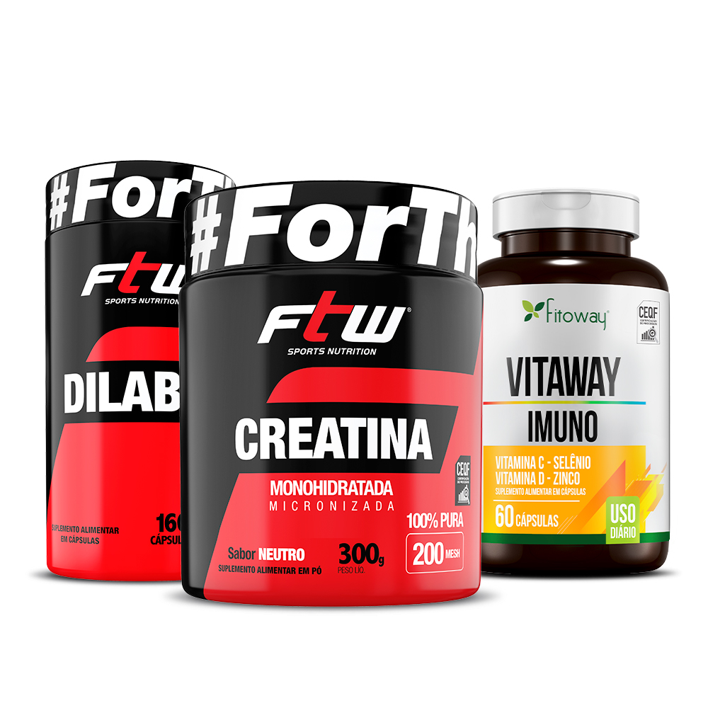 Dilabol 160 cáps + Creatina FTW 300g + Vitaway Imuno FTW - ee1