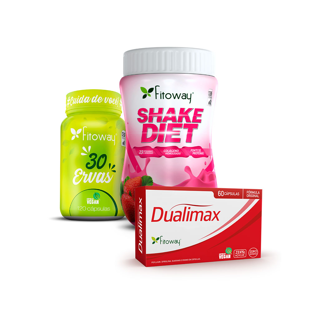 Dualimax 60 Cáps + Shake Diet 400g Morango + 30 Ervas 120 Cáps - tt1