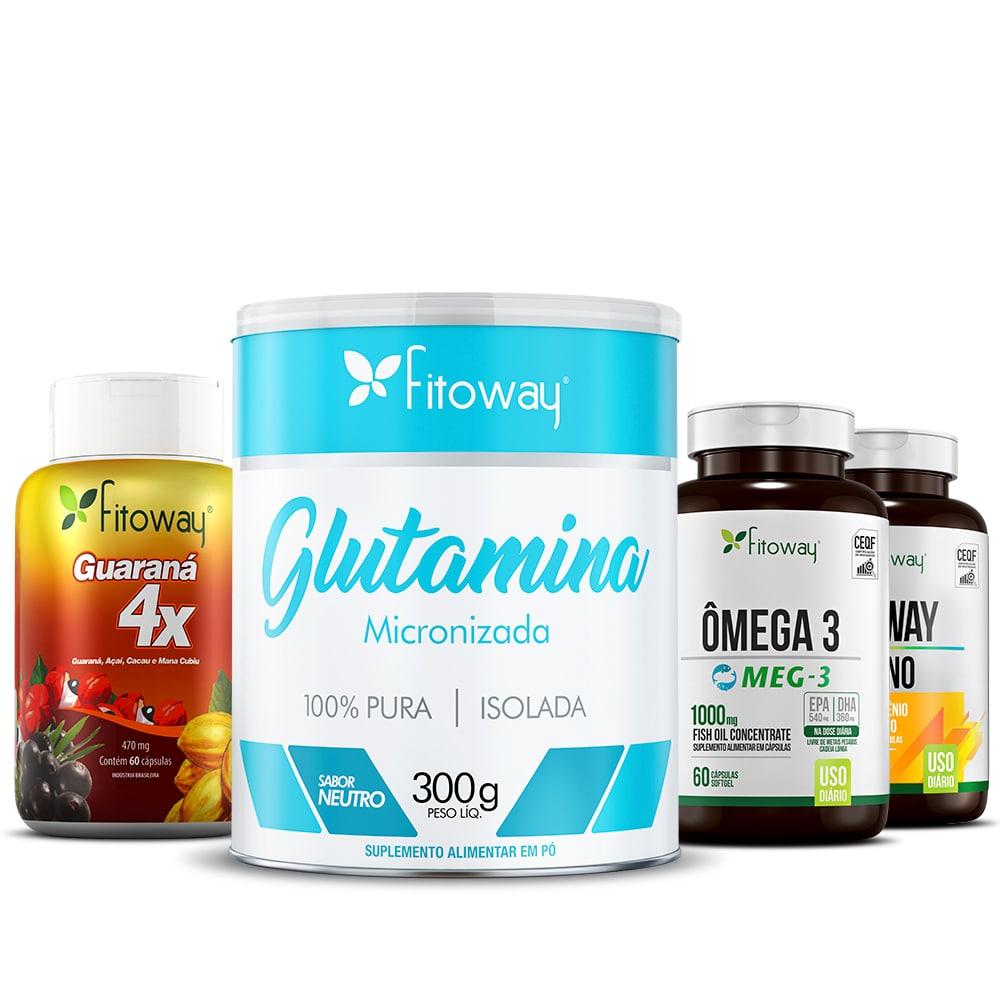 Guaraná 4x 60 Cáps + Vitaway Imuno 60 Cáps + Glutamina Fitoway  300g + Ômega 3 Meg 60 Cáps - pp1