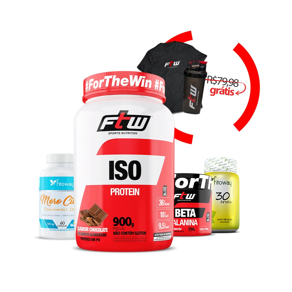 ISO Whey 900g + Beta Alanina  150g  + Moro Citrus 60 cáps + 30 Ervas 120 cáps + Brinde Camiseta FTW + Coqueteleira - Res1