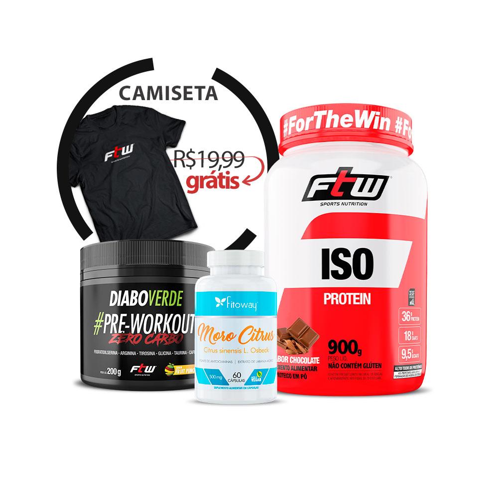 ISO Whey 900g + Diabo Verde #Pre-Workout Zero-Caro 200g + Moro Citrus 60 cáps + Brinde Camiseta FTW - AA1