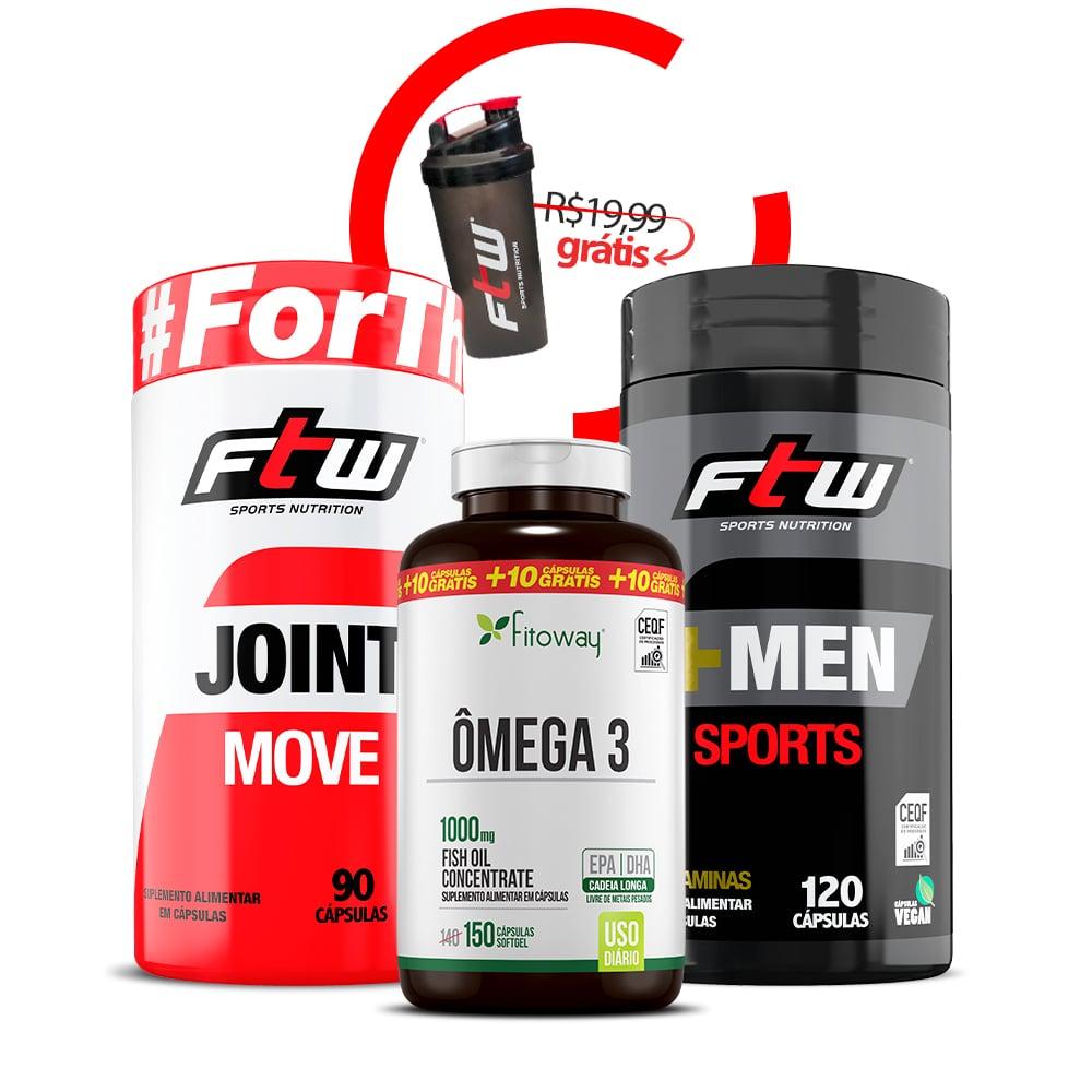 Joint Move + Ômega 3 150 Cáps +Men Sports 120 Cáps  + Brinde Coqueteleira - rr1