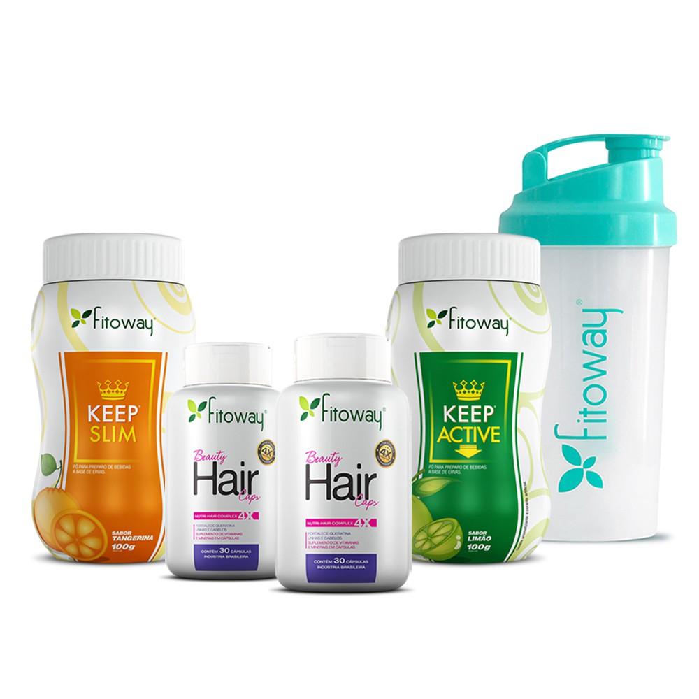 Kit 2x Beauty Hair 30 cáps cada + Keep Slim Tangerina 100g + Keep Active 100g - Fitoway