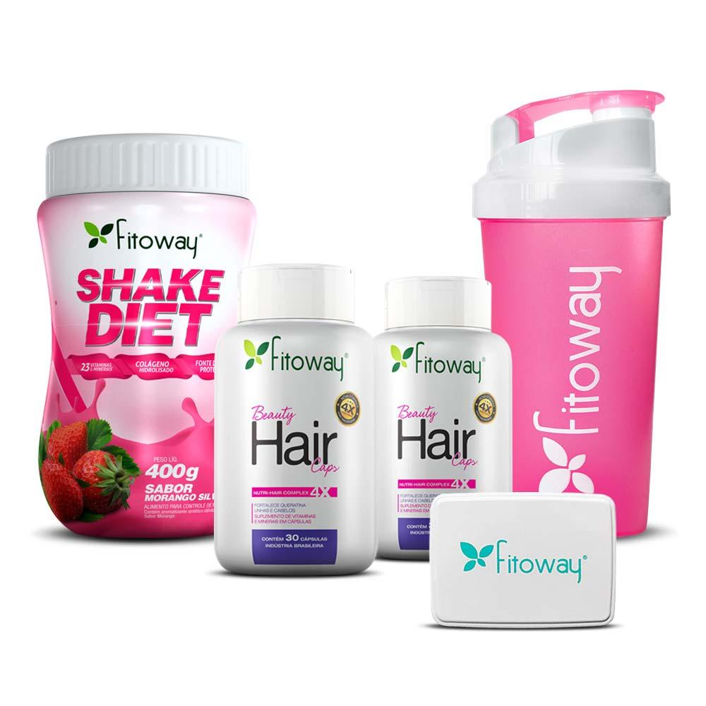 Kit 2x Beauty Hair 30 cáps cada + Shake Diet 400g  - Fitoway