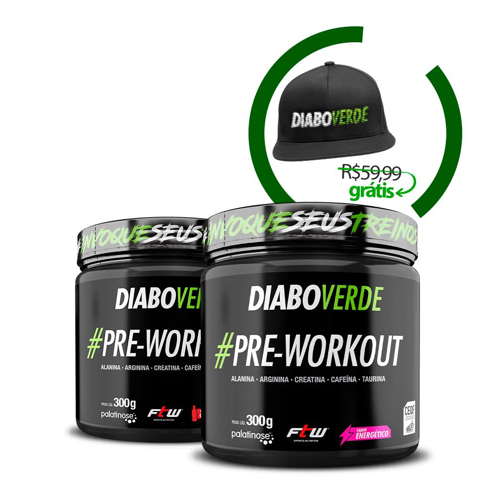 Kit 2x Diabo Verde #Pre-Workout + Brinde Boné Diabo Verde