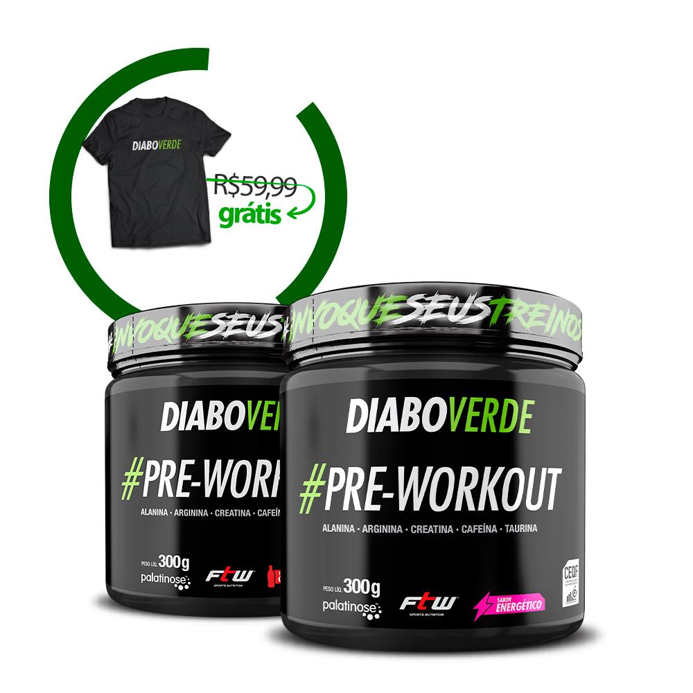 Kit 2x Diabo Verde #Pre-Workout + Brinde Camiseta Diabo Verde