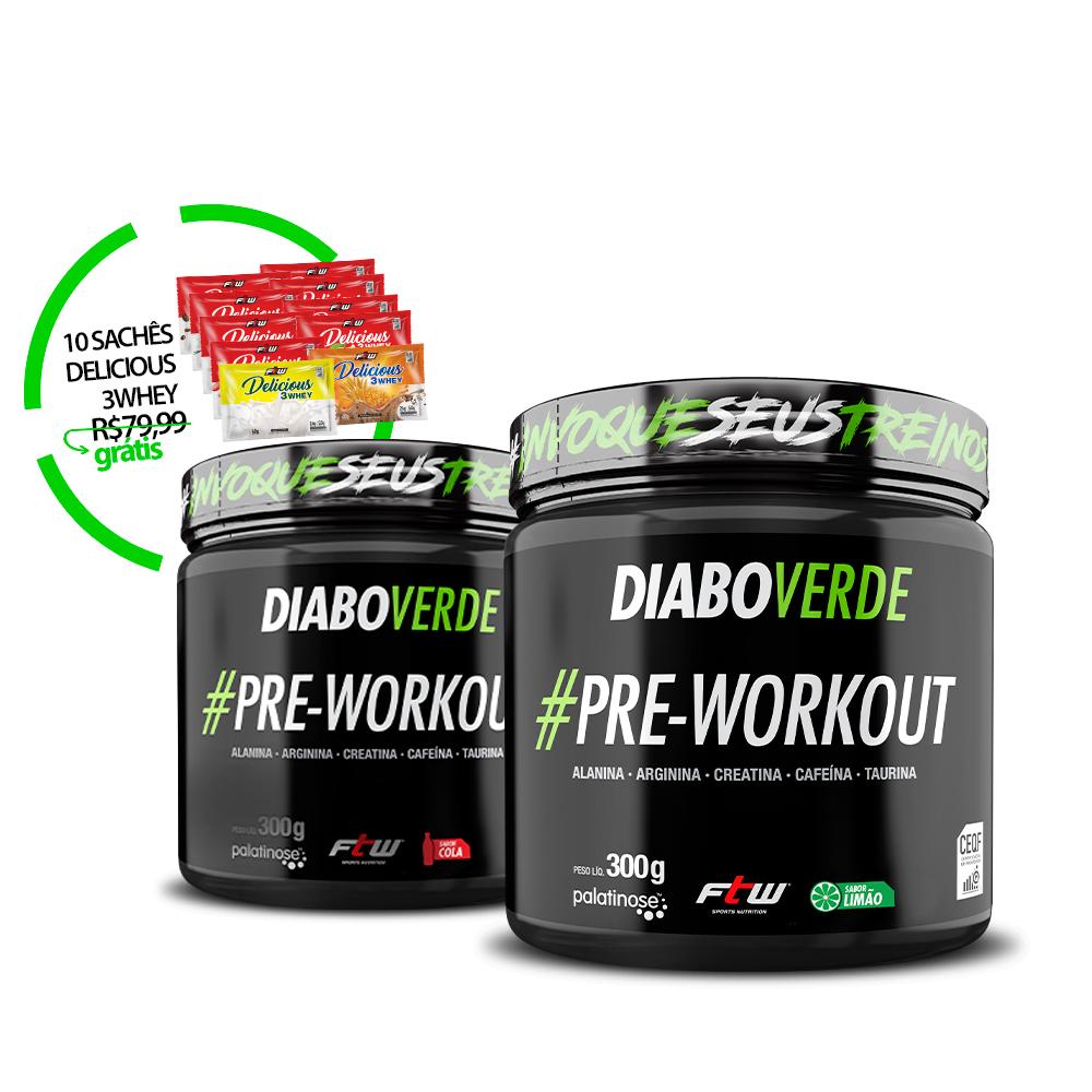 Kit 2x Diabo Verde #Pre-workout Sabor Cola e Energético + Brinde 10 Sachês de Delicious 3Whey