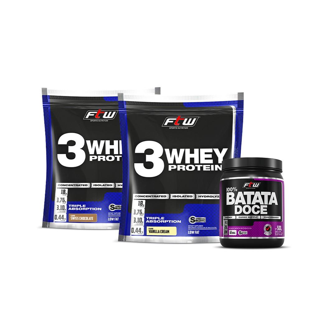 Kit 2x Whey 3w 2,270g Cada + Brinde Batata Doce FTW - FTW