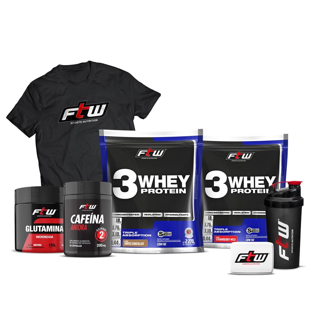 Kit 2x Whey 3w 2,270g Cada + Cafeina anidra 30 cáps + Glutamina 150g - FTW