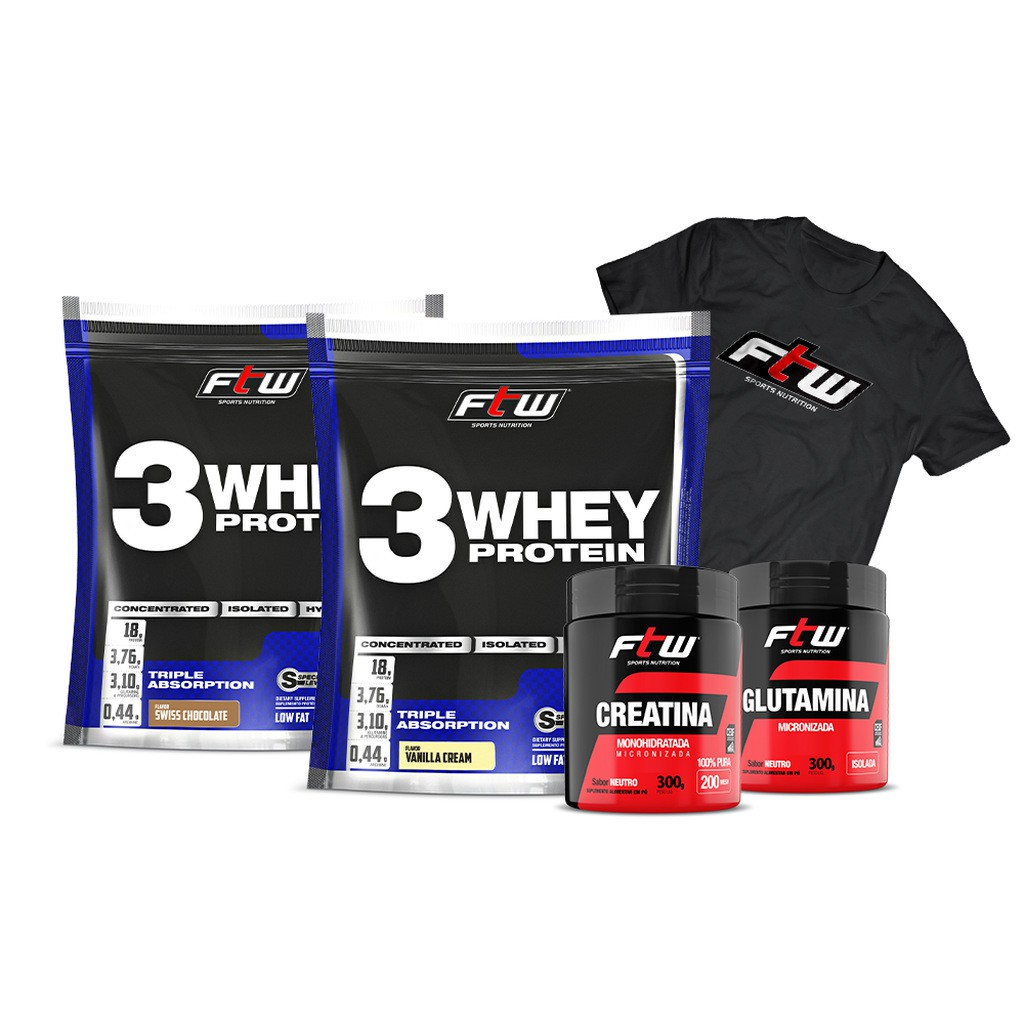 Kit 2x Whey 3w 2,270g Cada + Creatina 300g + Glutamina 300g + Brinde Camiseta Oficial FTW - FTW