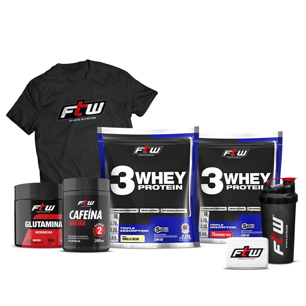 Kit 2x Whey 3w 2,270g Cada + Glutamina 150g + Cafeína Anidra 30 cáps - FTW