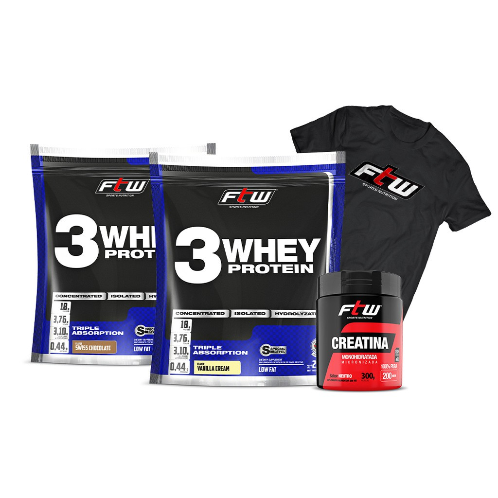 Kit 2x Whey 3w 2,270g Cada + Glutamina 300g + Brinde Camiseta Oficial FTW - FTW
