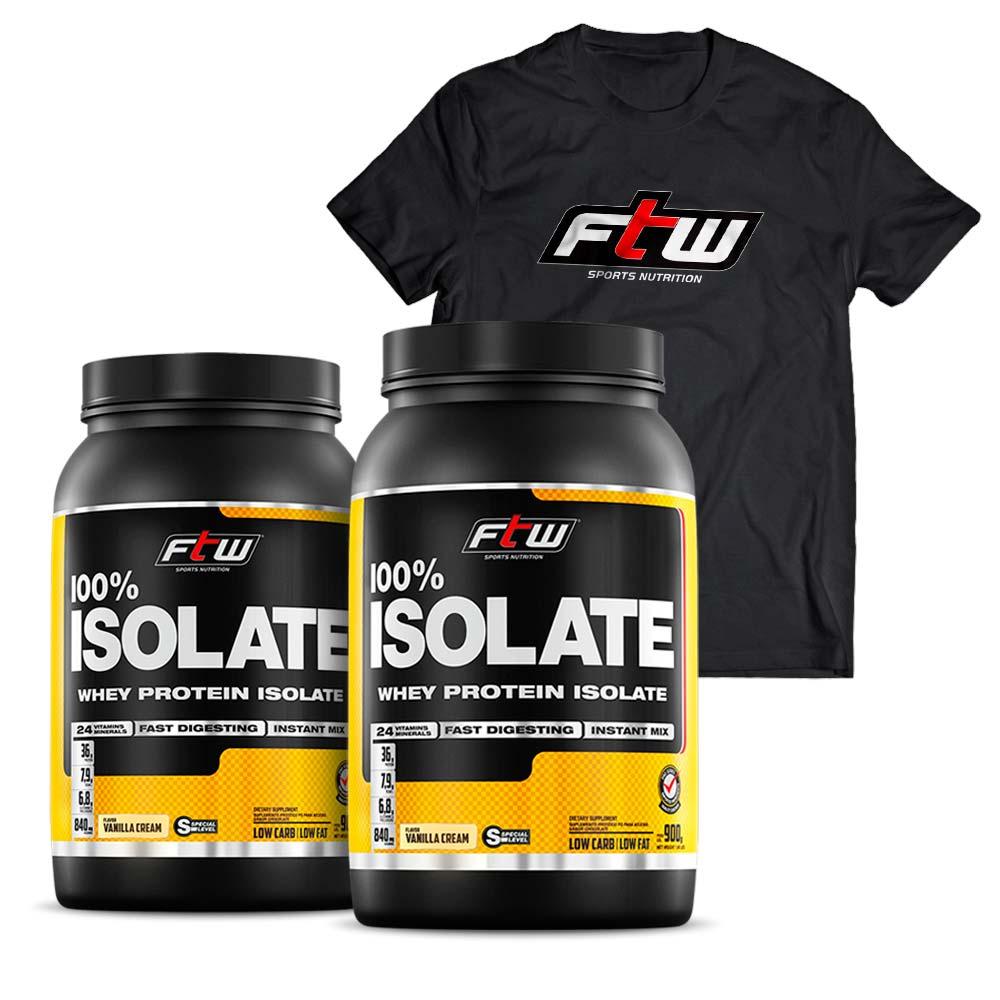 Kit 2x Whey Protein 100% Isolado Sabor Baunilha  900g + Brinde Camiseta Tradicional - FTW