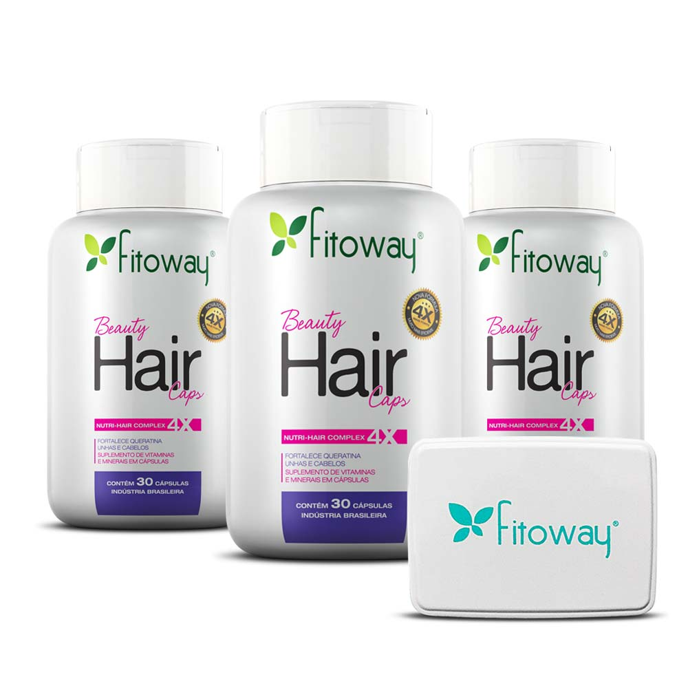 Kit 3x Beauty Hair 30 cáps - Brinde Porta Cápsulas