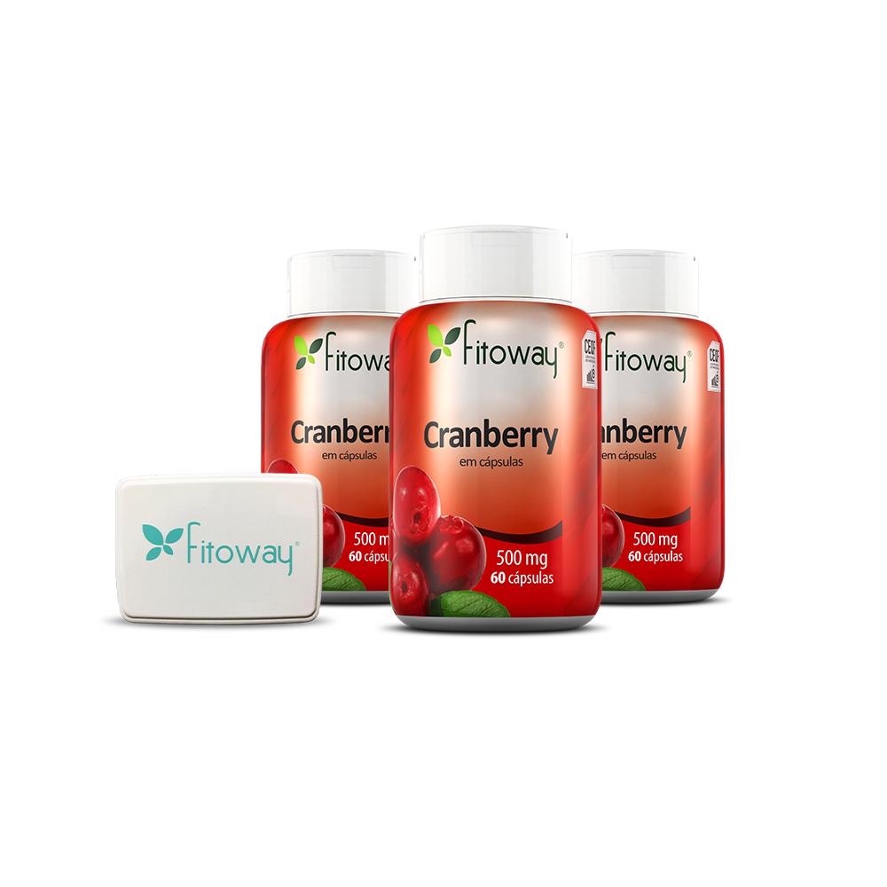 Kit 3x Cranberry 60 cáps + Brinde Porta Cápsulas - Fitoway