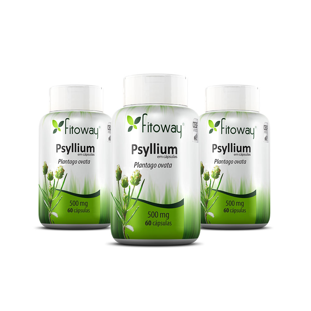 Kit 3x Psyllium Fitoway - 60 cápsulas