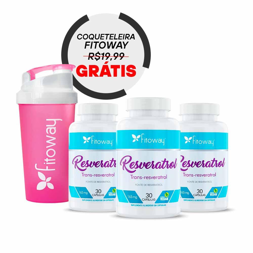 Kit 3x Resveratrol Fitoway - 30 cáps + Brinde Coqueteleira + Porta cápsulas
