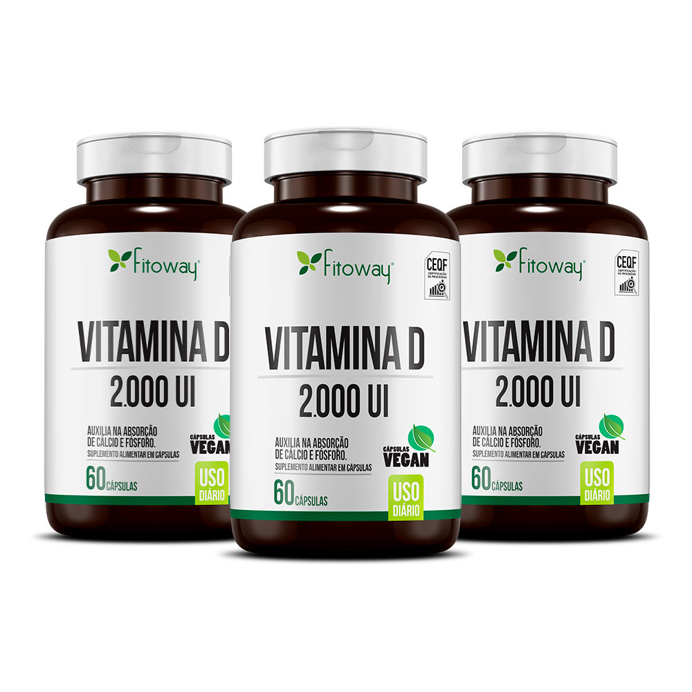 Kit 3x Vitamina D 2000 UI 60 cáps - Fitoway