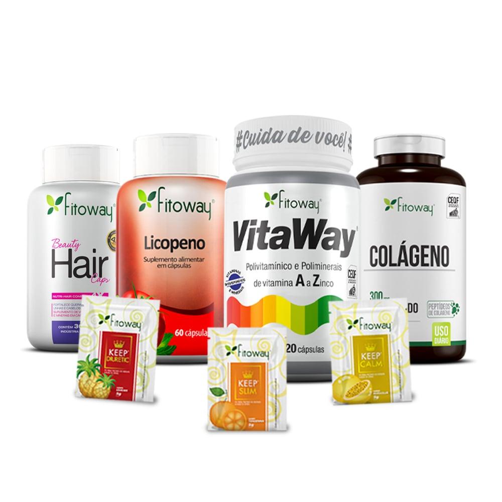 Kit Beauty Hair 30 cáps + Licopeno 60 cáps + VitaWay 120 cáps + Colágeno 180 cáps