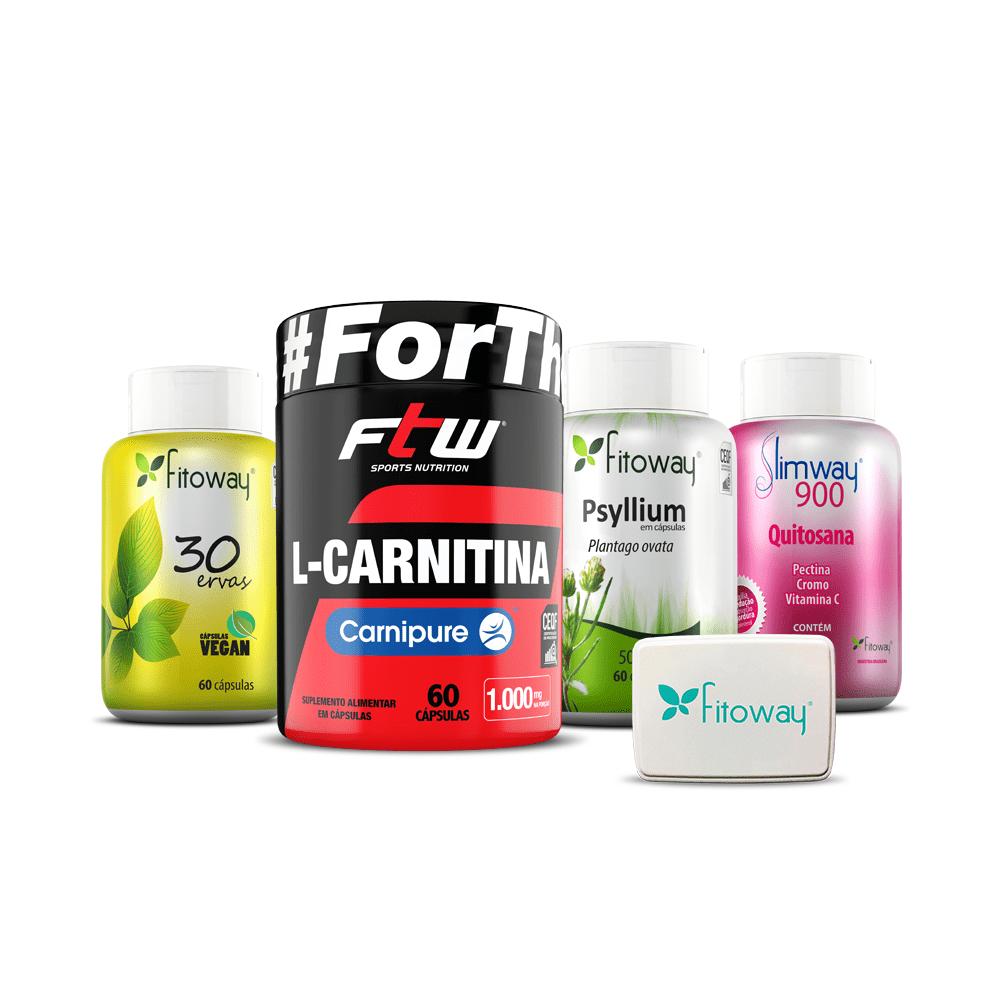 Kit Bem estar e Energia - 30 Ervas 60 cáps + L-Carnitina Carnipure + Psyllium + SlimWay 900