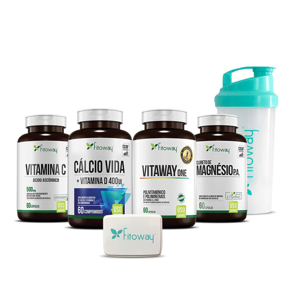 Kit Cálcio Vida 60 cáps + Vitamina C 60 cáps + VItaway One 60 cáps + Magnésio P.A. 60 cáps - Fitoway