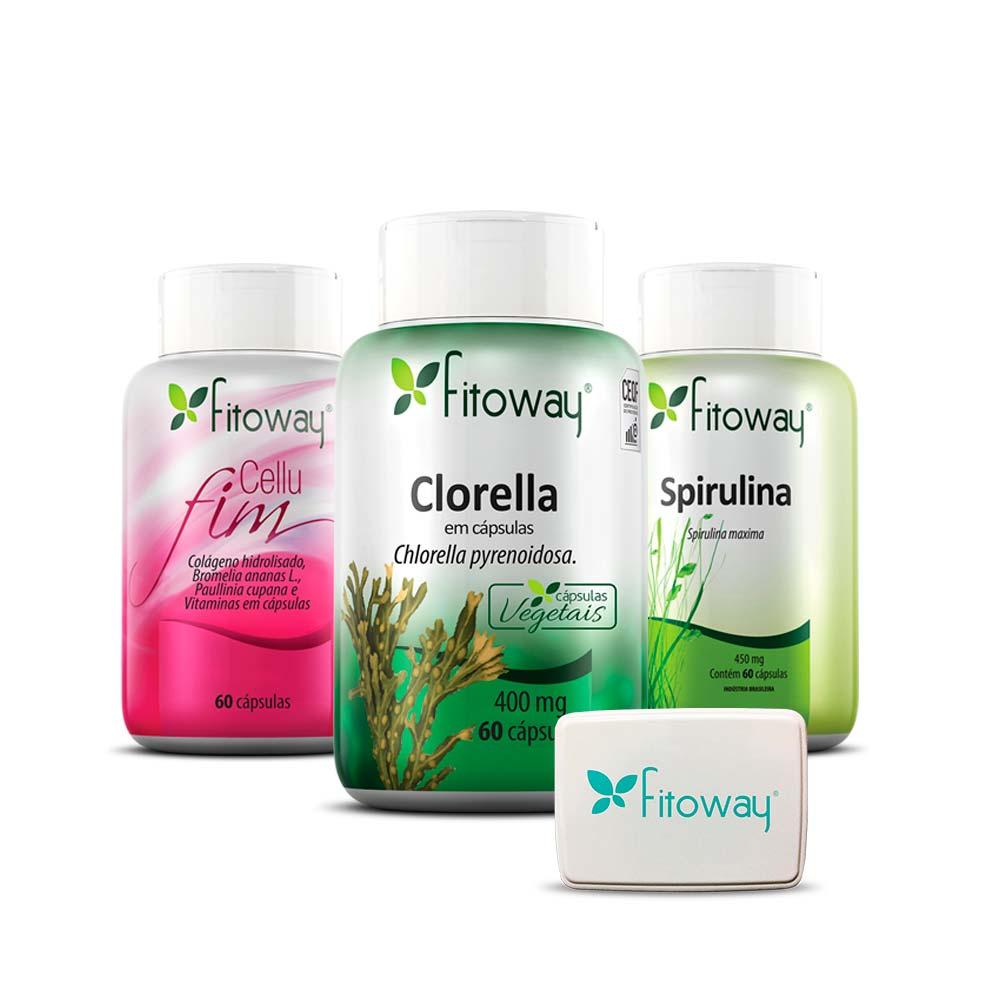 kit CelluFim 60 cáps + Clorella 60 cápsulas + Spirulina 60 cáps - Fitoway