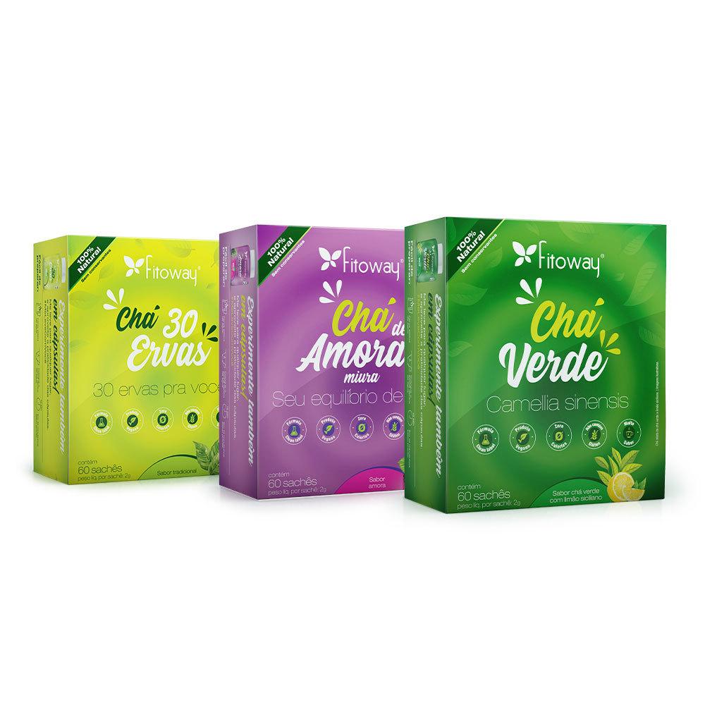 Kit Chá 30 ervas + Chá de Amora Fitoway + Chá Verde
