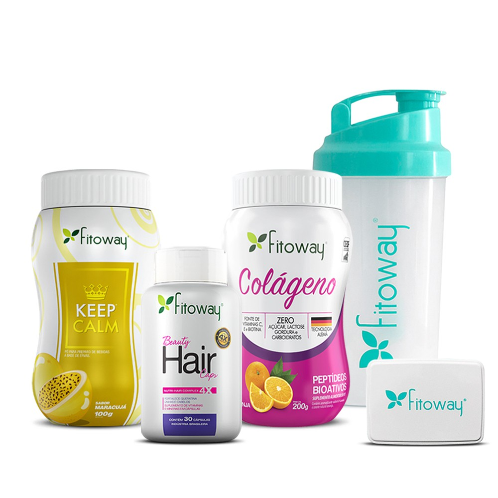 Kit Colágeno 200g + Beauty Hair 30 cáps + Keep Calm 100g - Fitoway