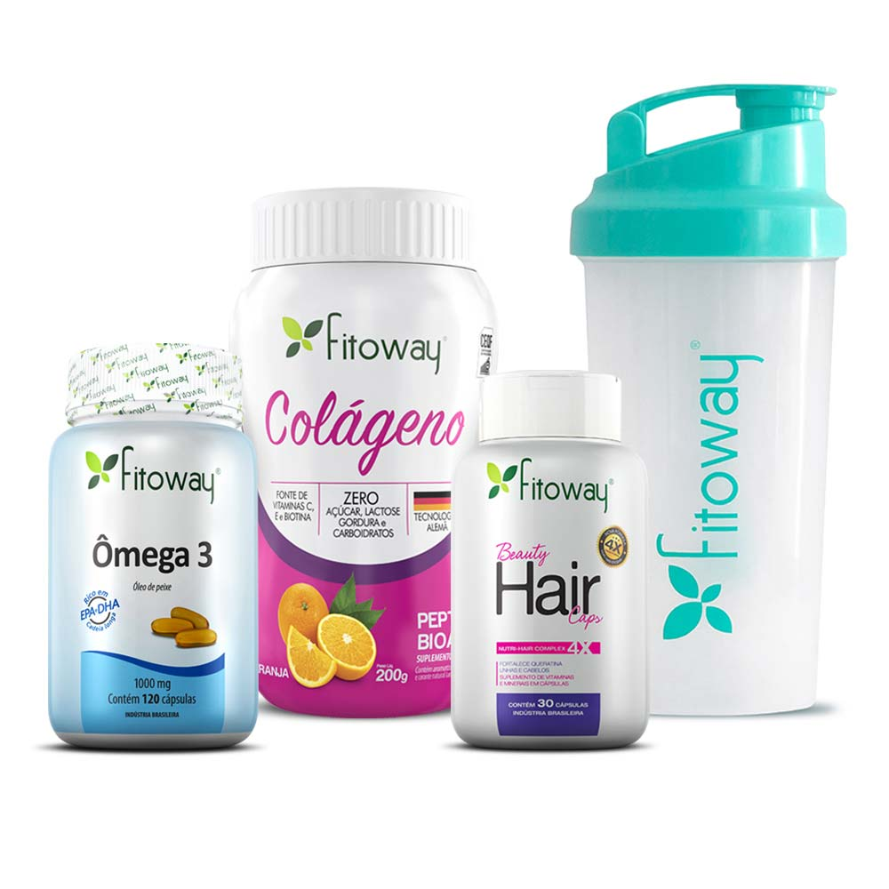 Kit Colágeno Sabor Laranja 200g + Beauty Hair 30 cáps + Ômega 3 - Brinde Coqueteleira Fitoway