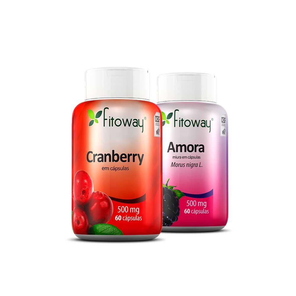 Kit Cranberry 60 cáps + Amora 60 cáps - Fitoway