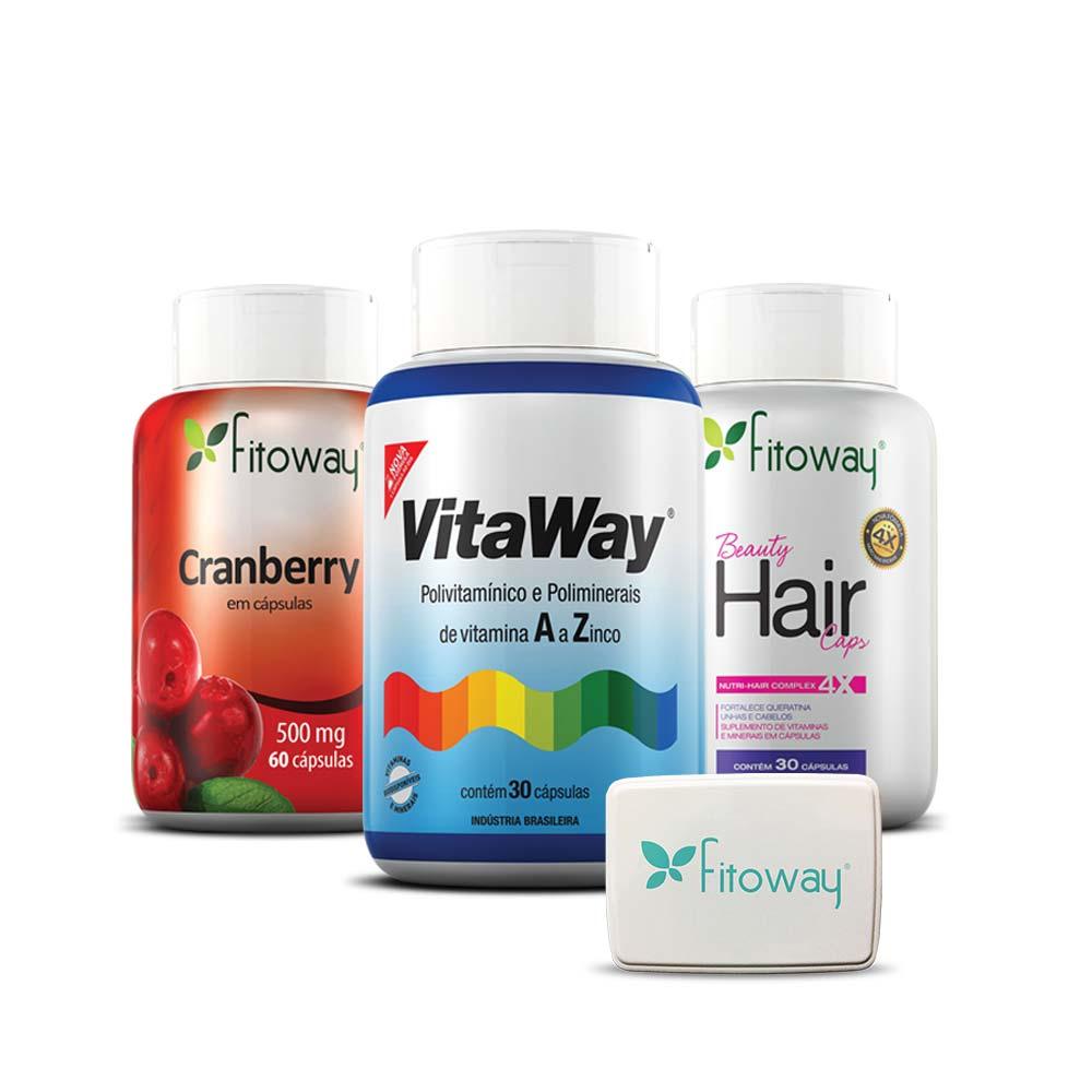 kit Cranbery 60 cáps + Vitaway 100% IDR Polivitamínico A Z 30 cáps + Beauty Hair 30 cáps - Fitoway
