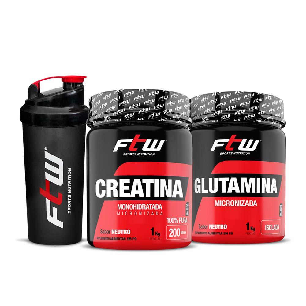 Kit Creatina 1kg + Glutamina 1kg - FTW