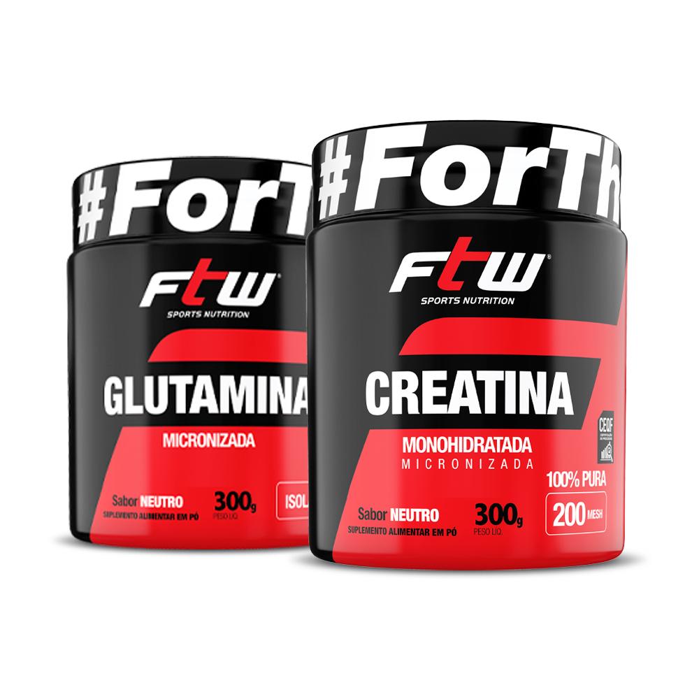Kit Creatina 300g + Glutamina 300g - FTW