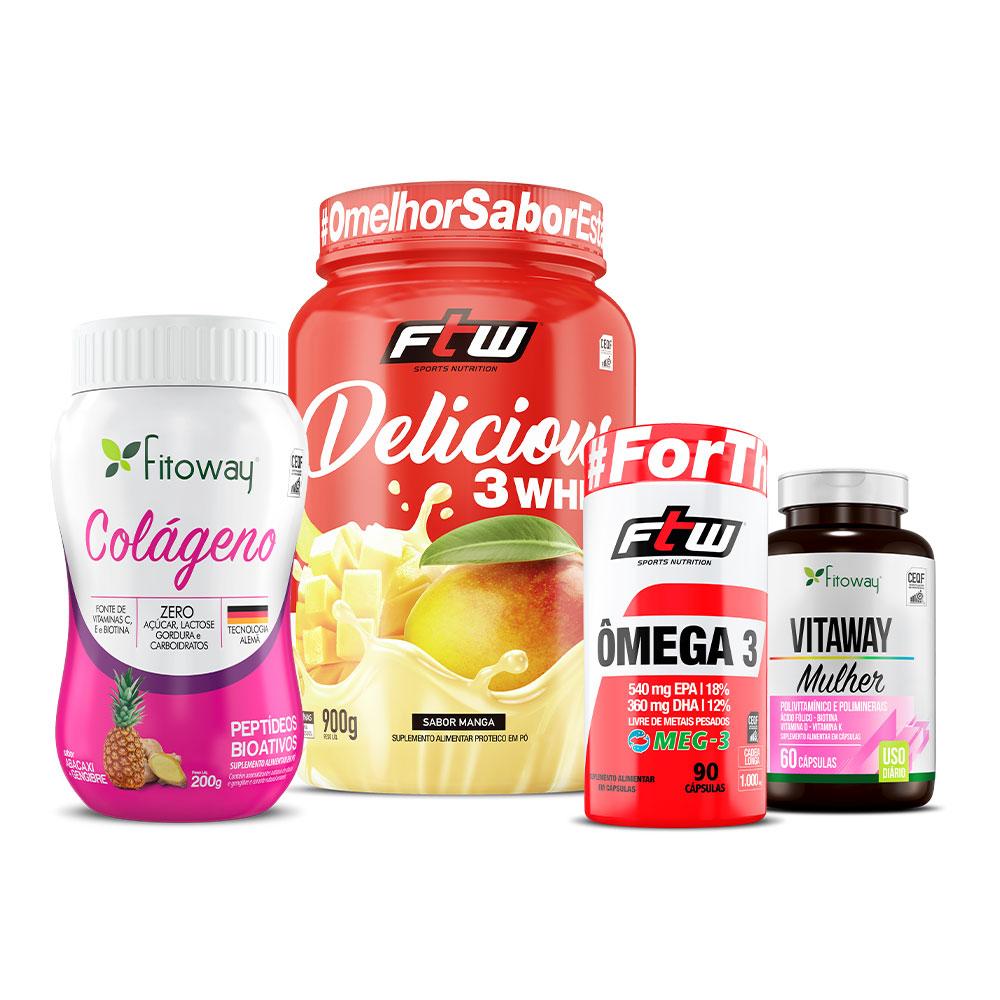 Kit Delicious 3 Whey sabor Manga + Vitaway Mulher + Ômega 3 Meg 3 + Colágeno Abacaxi 200g