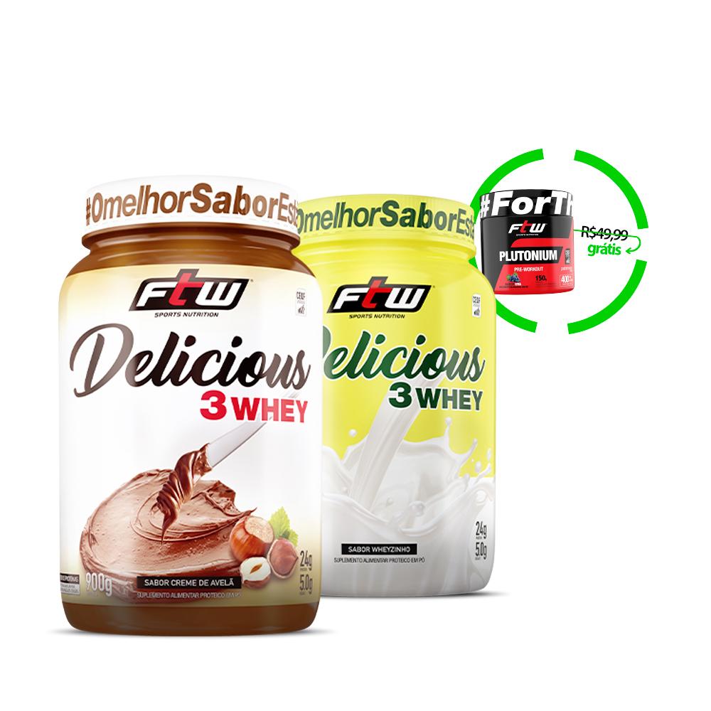 Kit Delicious 3Whey Creme de Avelã + Delicious 3Whey Sabor Wheyzinho + Brinde Plutonium 150g