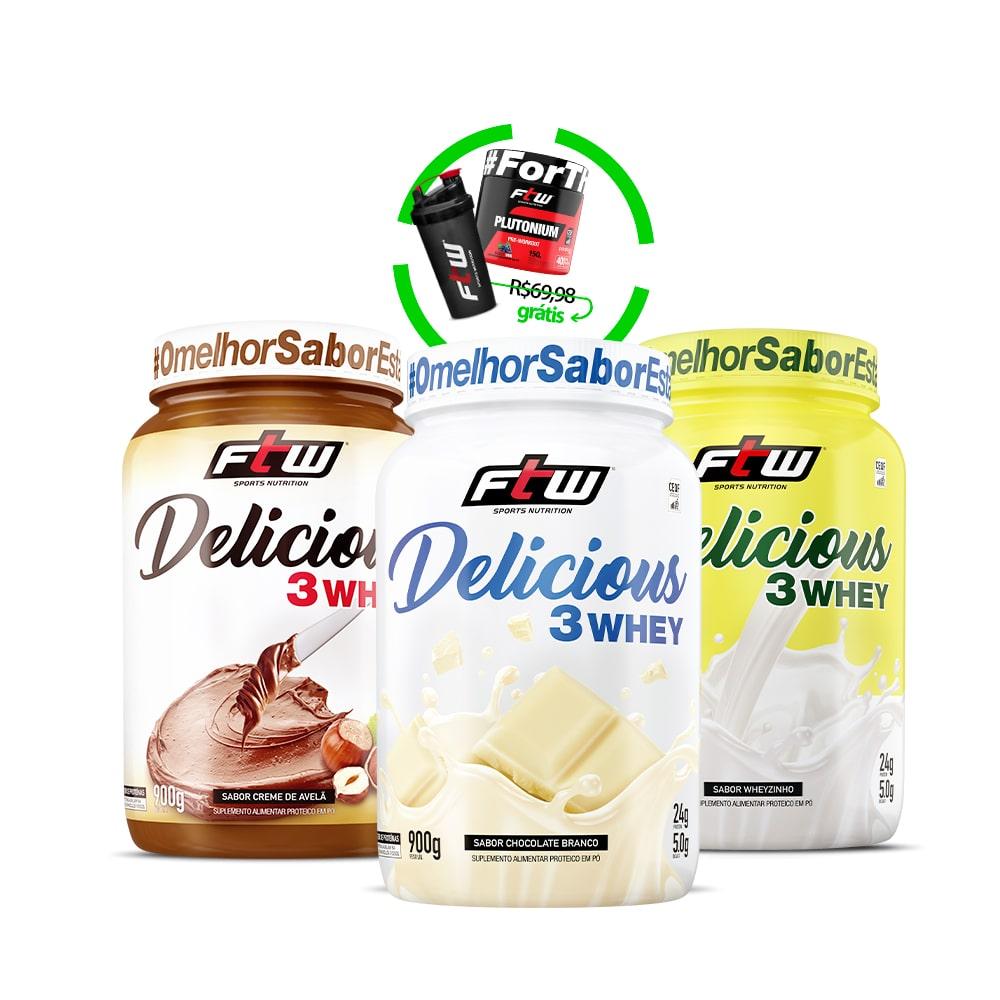 Kit Delicious 3Whey Creme de Avelã + Sabor Wheyzinho + Chocolate Branco + Brinde Diabo Verde #Plutonium + Coqueteleira FTW