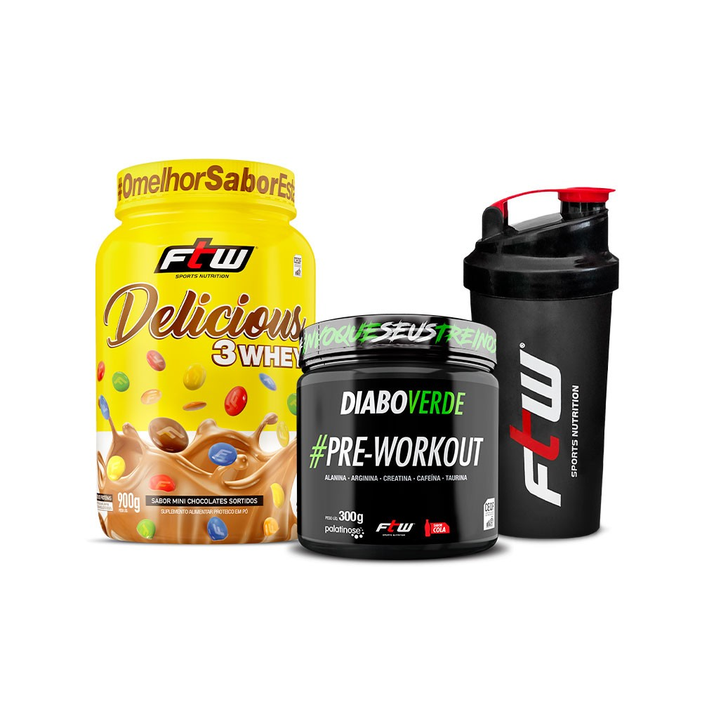 Kit Delicious Mini Chocolate Sortido 900g  + Diabo Verde #Pre-Workout Sabor Cola 300g + Brinde Coqueteleira - FTW