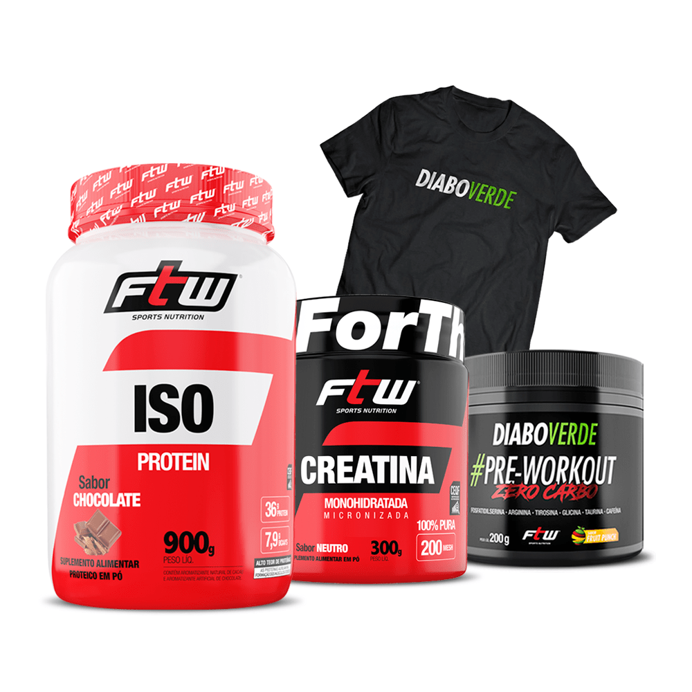Kit Diabo Verde #Pre-Workout Zero Carbo Sabor Fruit Punch 200g + Whey Iso 900g + Creatina FTW + Grátis Camiseta Diao Verde DryFit