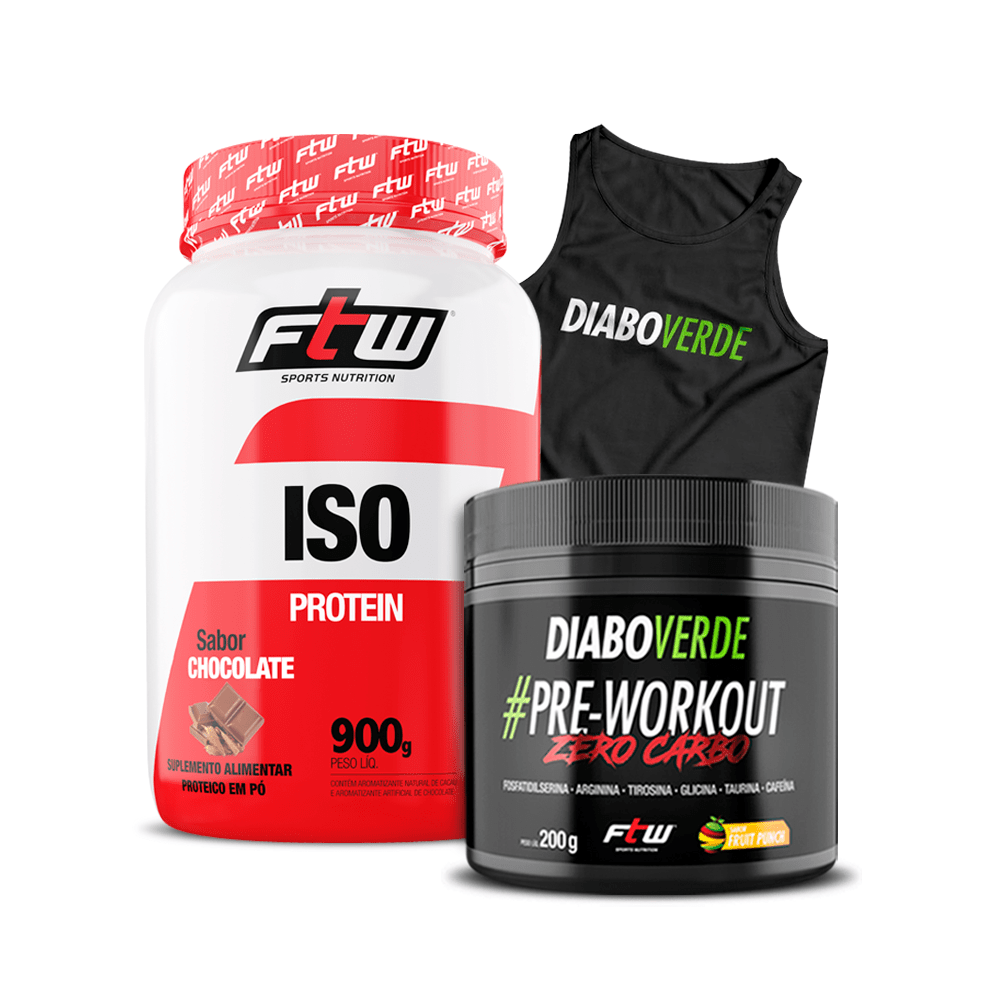 Kit Diabo Verde #Pre-Workout Zero Carbo Sabor Fruit Punch 200g + Whey Iso 900g + Grátis Regata Diao Verde DryFit