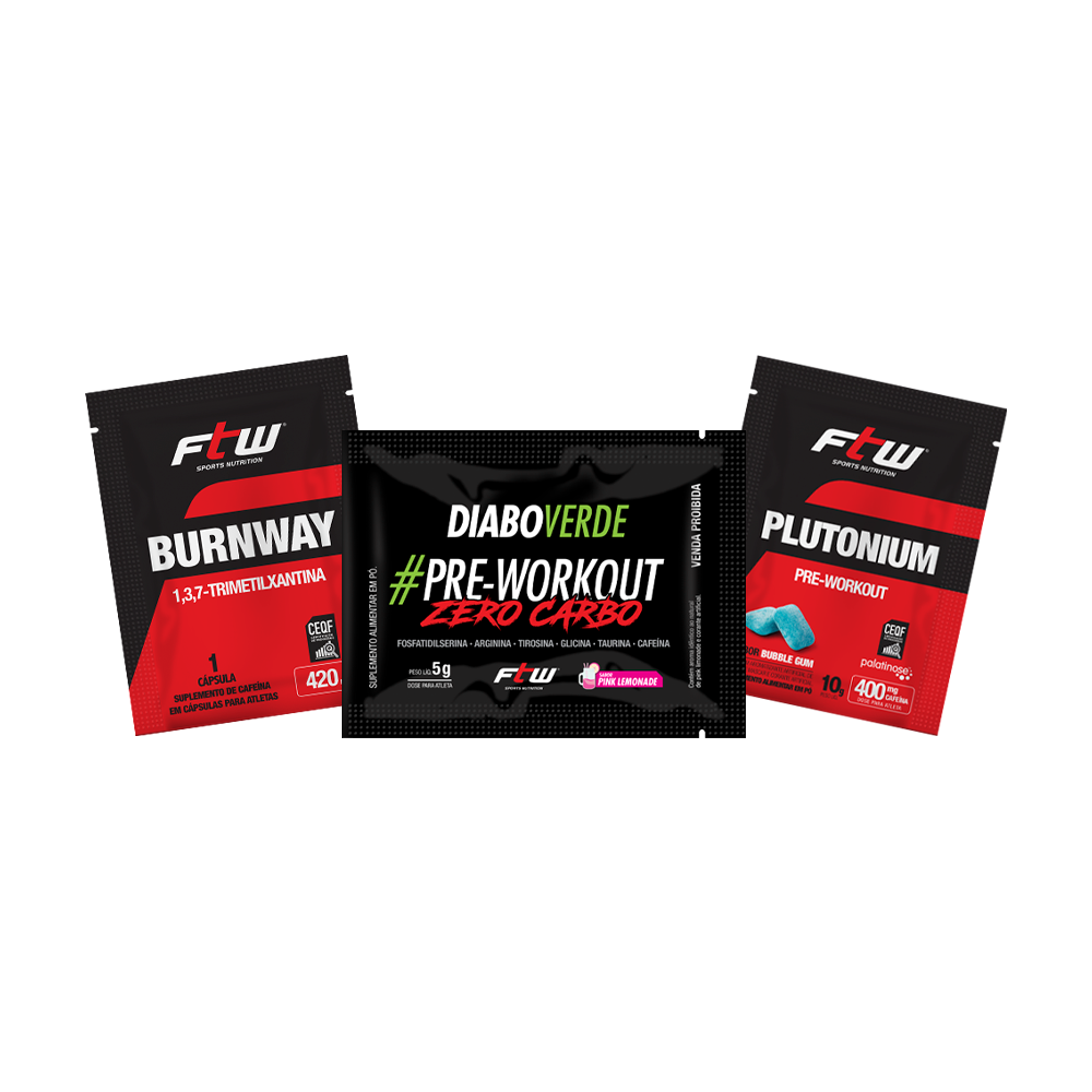 Kit dose única BurnWay + Diabo Verde  #Pre-Workout Zero Carbo + Plutonium Pre-Workout