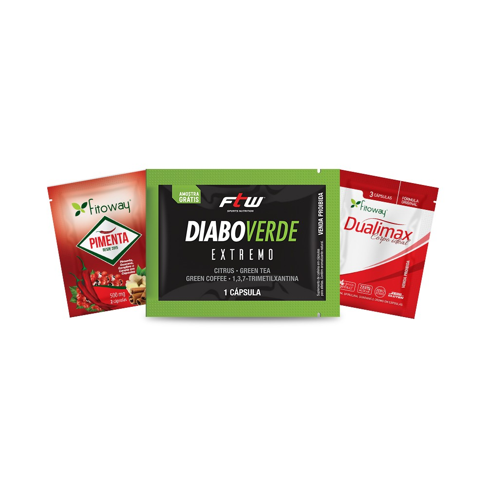 Kit dose única Dualimax + Pimenta Fitoway + Diabo Verde Extremo