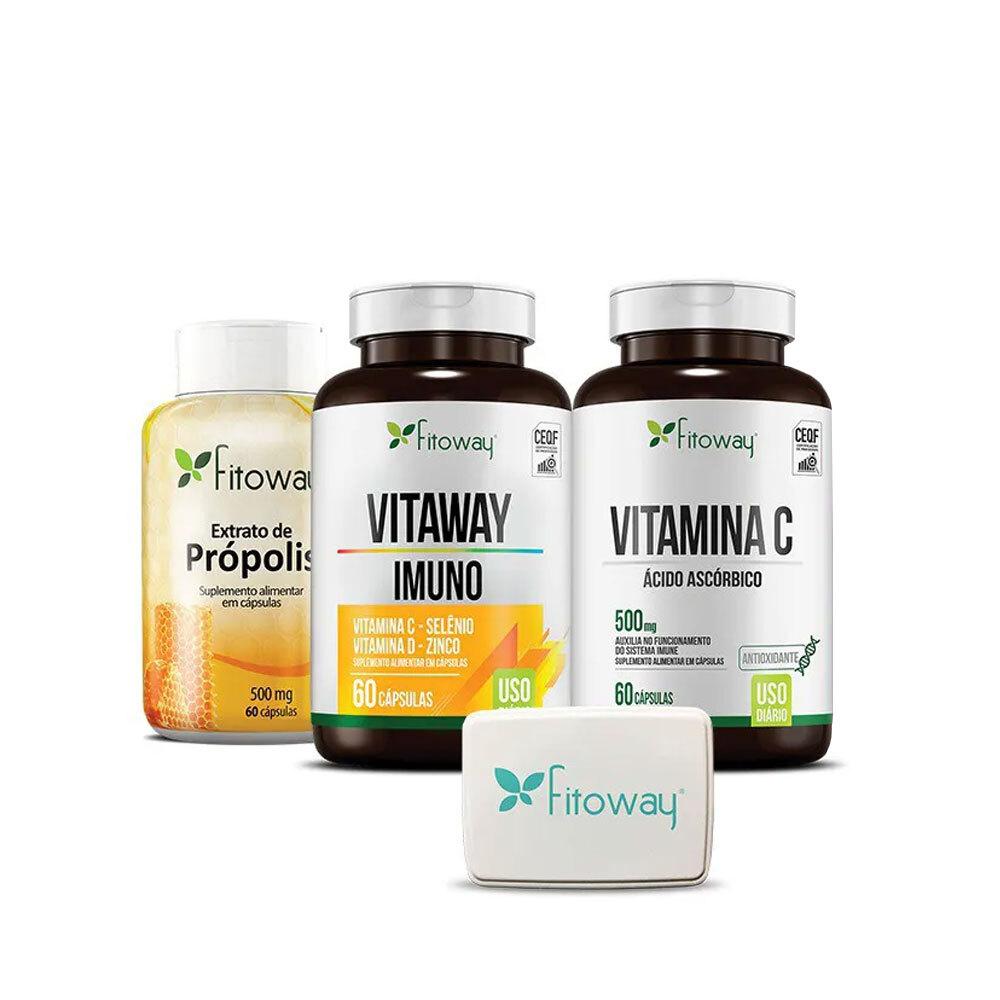 Kit Extrato de Própolis 60 cáps + Vitaway Imuno 60 cáps + Vitamina C 60 cáps - Fitoway